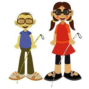 dos niños ciegos